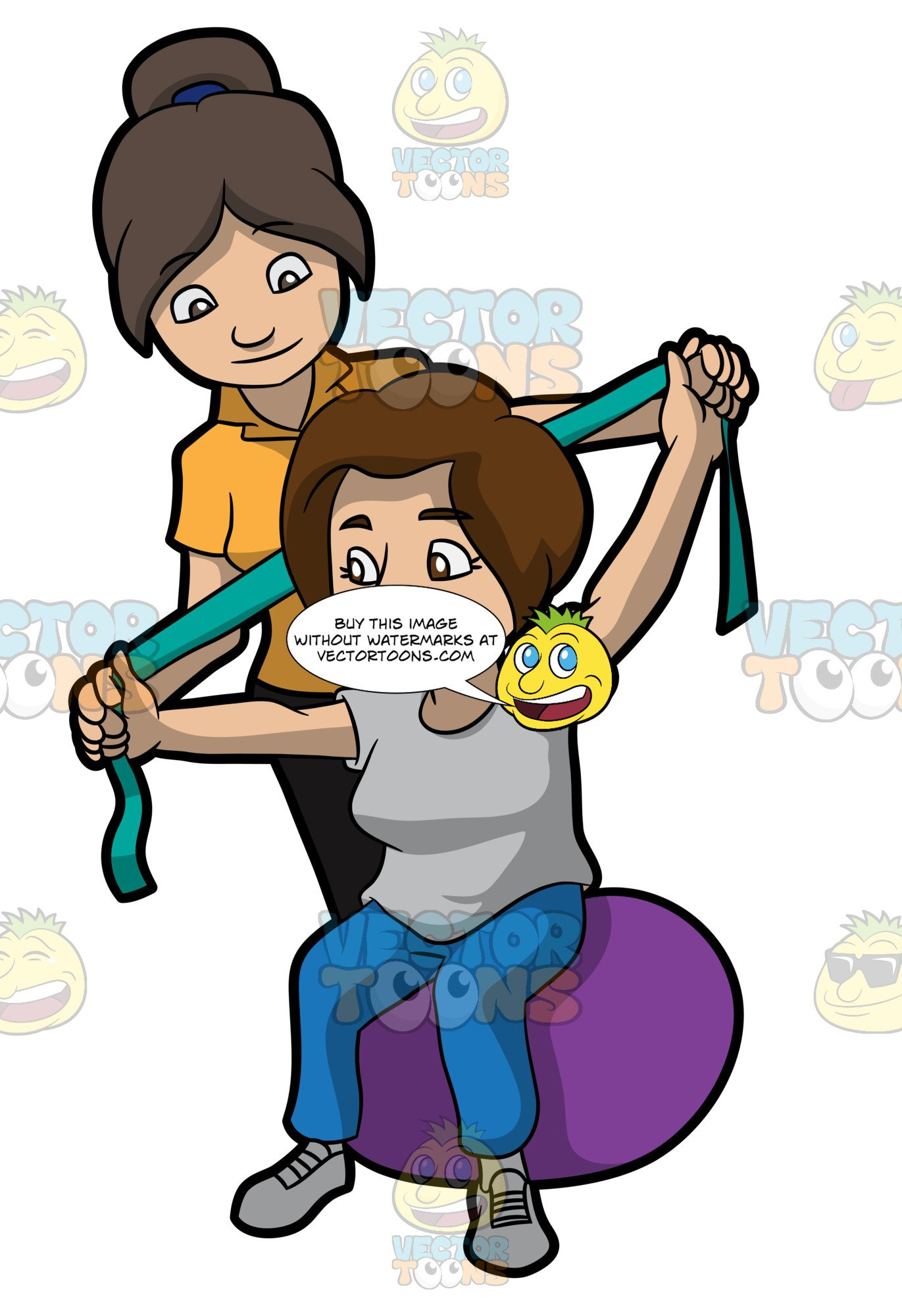 Clipart of psychologist woman with woman patient clipart black and white stock A Female Physical Therapist Helping A Patient Stretch Her Arms clipart black and white stock