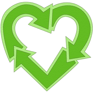 Clipart of recycling symbol in a heart