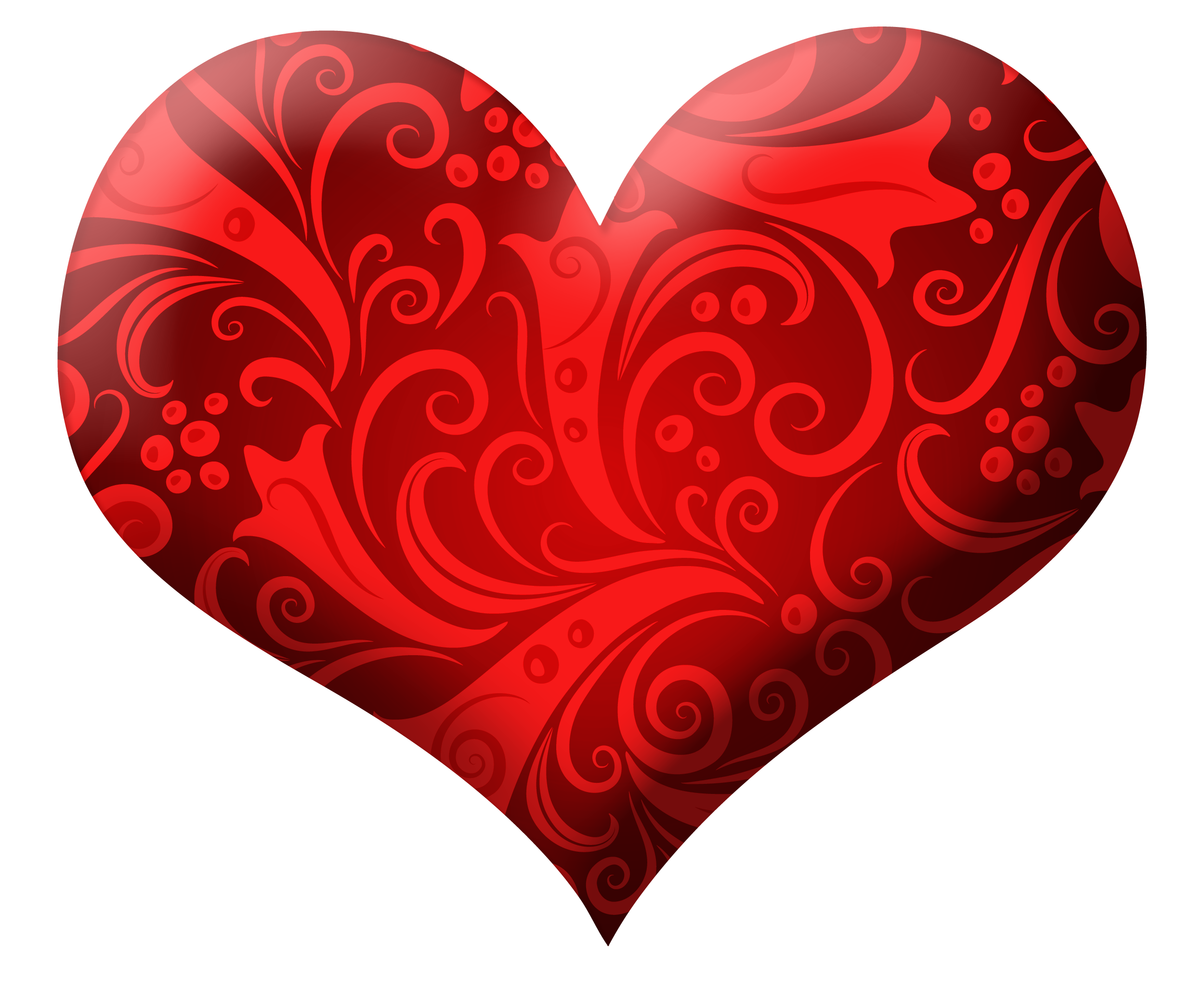Red Heart with Ornaments PNG Clipart Picture | Gallery Yopriceville ... image black and white download