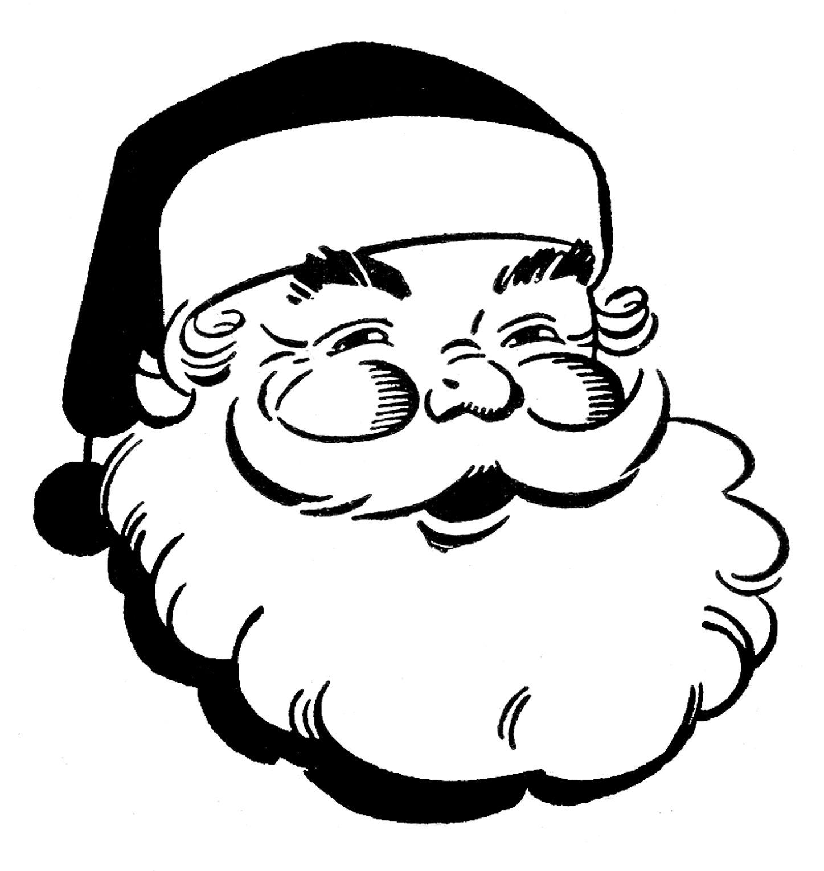 Clipart of santa claus black and white clipart free download 12 Cute Santa Clipart - Retro Style! | Christmas | Retro christmas ... clipart free download