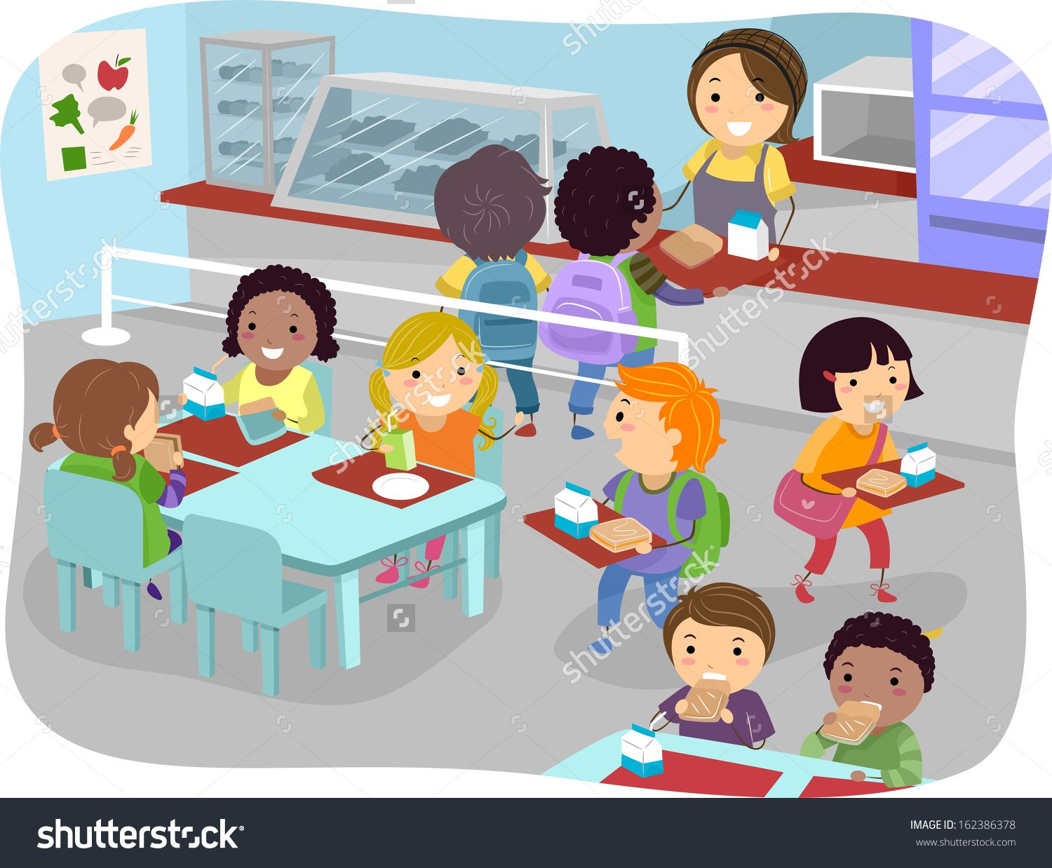 Clipart of school children getting their lunch image free download Illustration Of Kids In A Canteen Buying And Eating Lunch ... image free download