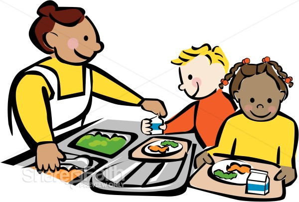Clipart of school children getting their lunch png free Children Getting Lunch at Cafeteria | Christian Classroom Clipart png free