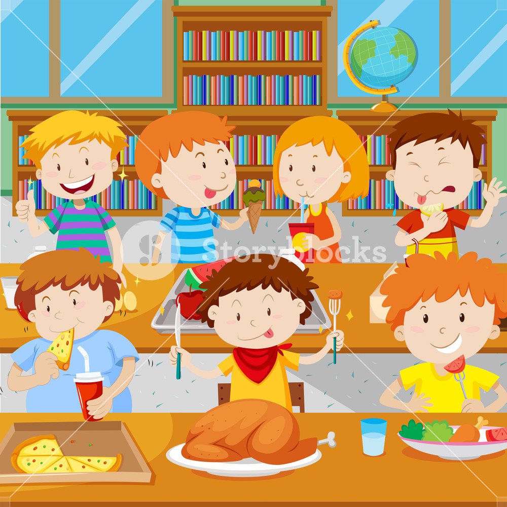 Clipart of school children getting their lunch image library download School children having lunch in the canteen Royalty-Free Stock Image ... image library download