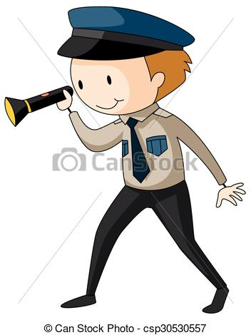 Clipart of security guard image free library Clipart Vector of Security guard holding flashlight illustration ... image free library