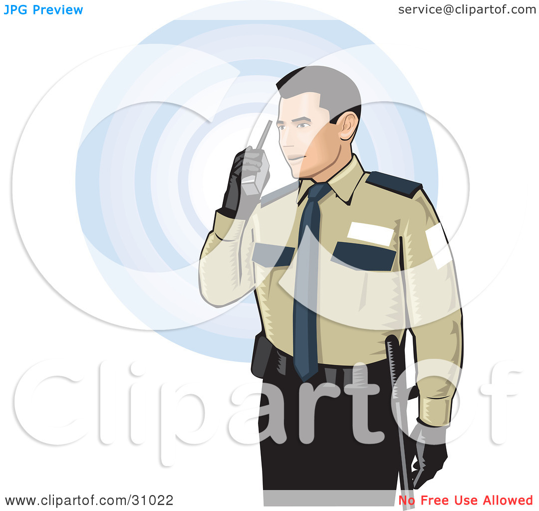 Clipart of security guard freeuse Clipart Illustration of a Male Security Guard In Uniform, Speaking ... freeuse