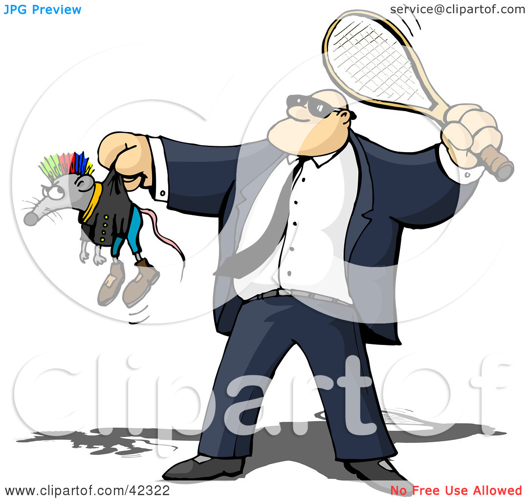 Clipart of security guard jpg free library Clipart Illustration of a Tough Security Guard Whacking A Rat With ... jpg free library