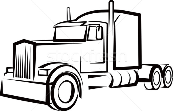 Free clipart semi truck. Black and white download