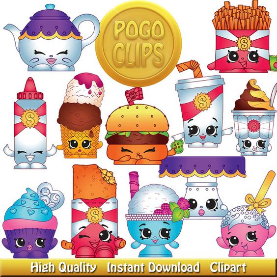 Clipart of shopkins png royalty free 30 Shopkins Food Fair Characters / Clip Art DIY Instant Download ... png royalty free