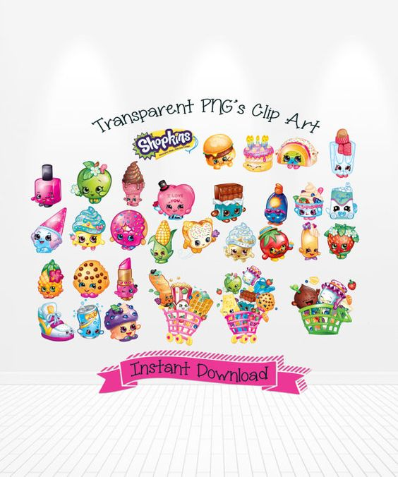 Clipart of shopkins clip free stock Shopkins Digital Clip Art transparent PNG's INSTANT by Andabloshop ... clip free stock