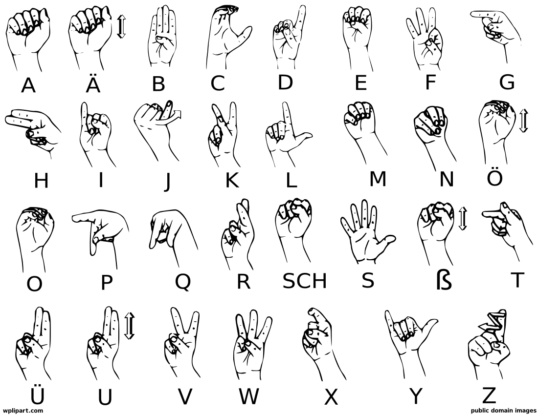 A clip art download. Clipart of sign language