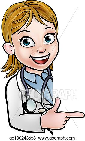 Clipart of sign the doctor is in cartoon clip free stock EPS Illustration - Doctor cartoon character pointing sign. Vector ... clip free stock