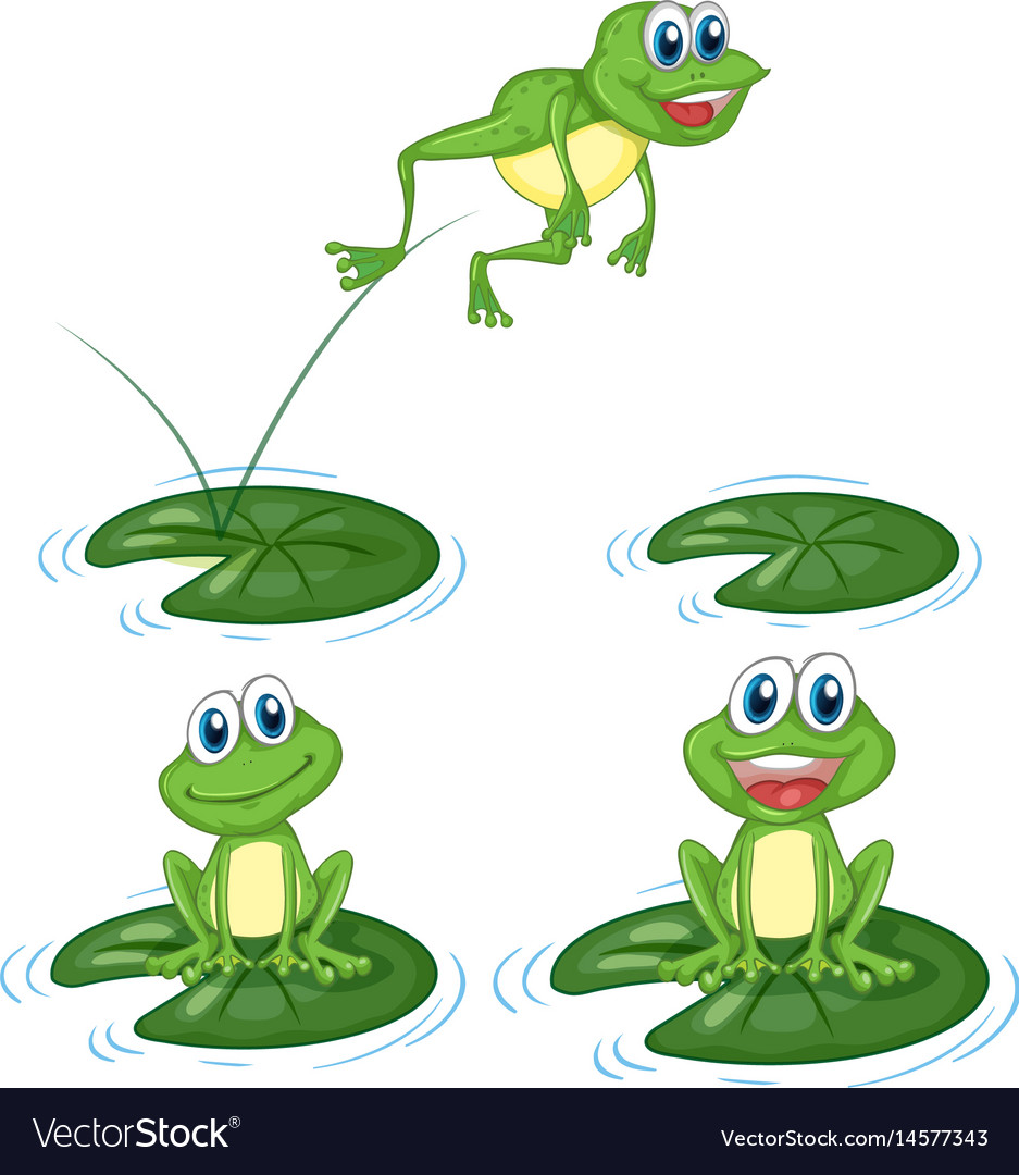 Clipart of smiling frogs jumping on lily pads