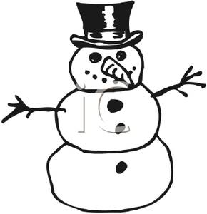 Clipart of snowman carrot nose black and white clipart royalty free download Black and White Snowman with a Tophat, Carrot Nose, and Stick Arms ... clipart royalty free download