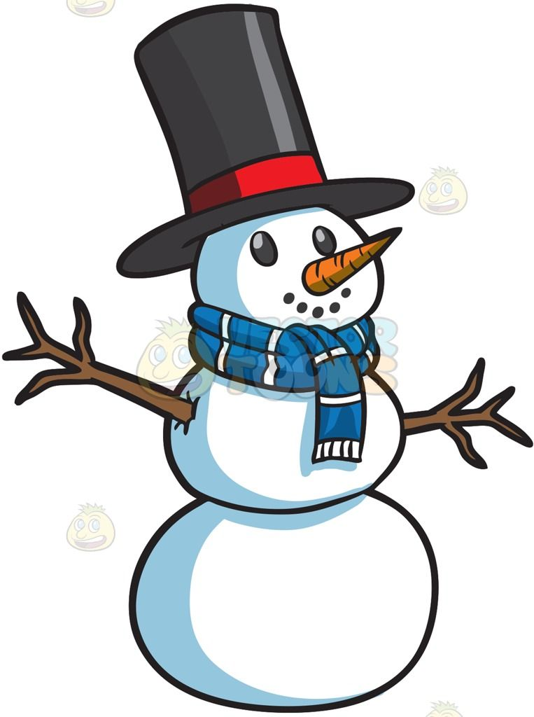 Clipart of snowman carrot nose black and white clipart royalty free library A smiling snowman : A snowman made of three stacked snowballs black ... clipart royalty free library