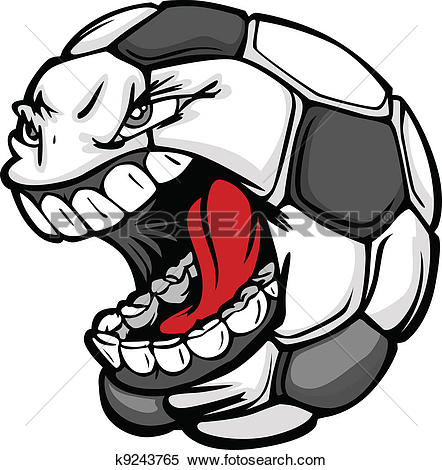 Clipart of soccer ball black and white library Clipart of Soccer Ball Screaming Face Cartoon Vector Image ... black and white library