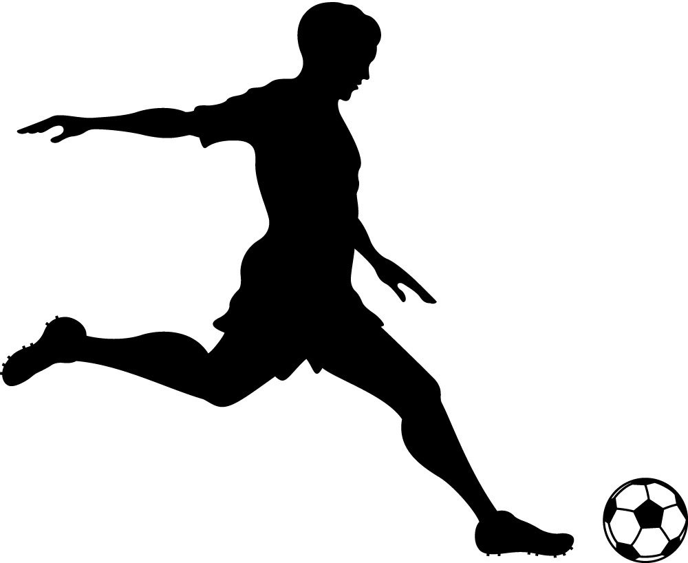 Girl playing socer clipart black and whit png free download Free Football Player Kicking Ball, Download Free Clip Art, Free Clip ... png free download