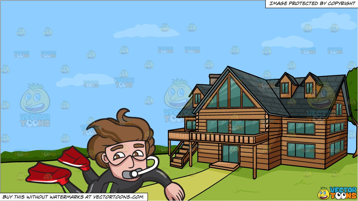 Clipart of someone exploring around a home library A Male Diver Exploring The Sea World and A Countryside Log House Background library