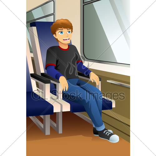 Clipart of someone sitting on a bus svg library Young Man Sitting In A Bus Or Train Illustration · GL Stock Images svg library