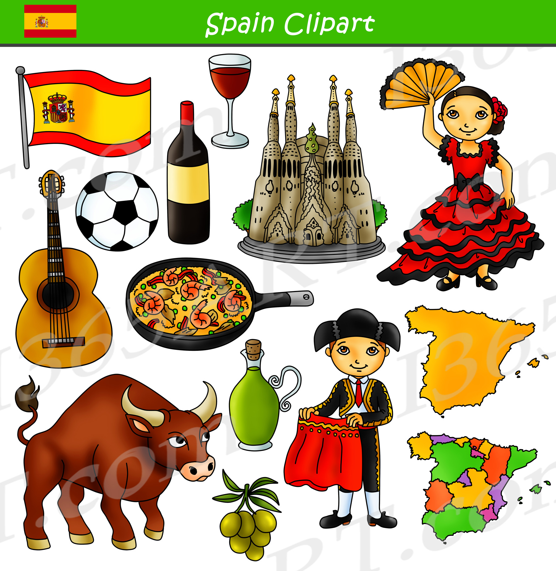 Clipart of spain clip art library download Spain Clipart Culture Graphics Bundle Set clip art library download