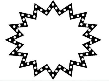 Starburst clipart black and white