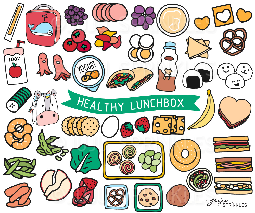 Clipart of stickers clip free download Healthy Lunchbox Clipart and Sticker Set clip free download