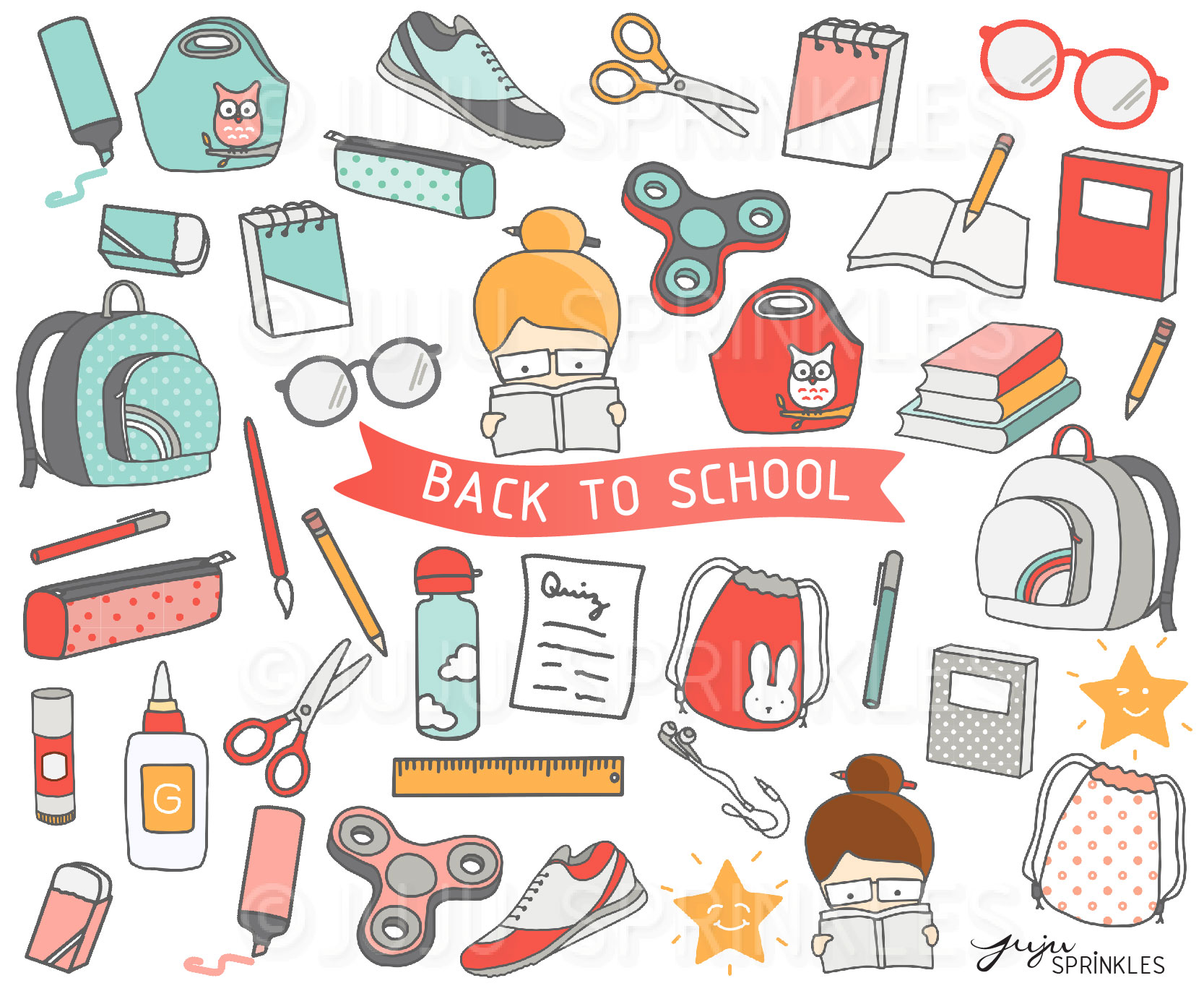 Cute stickers clipart clip art library download Back to School Clipart and Sticker Set clip art library download