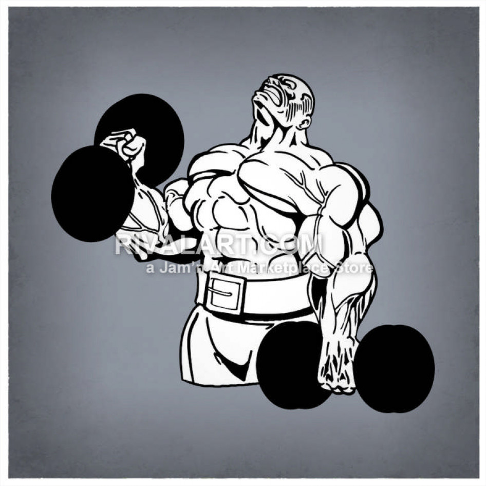 Clipart of strong man holding a weight