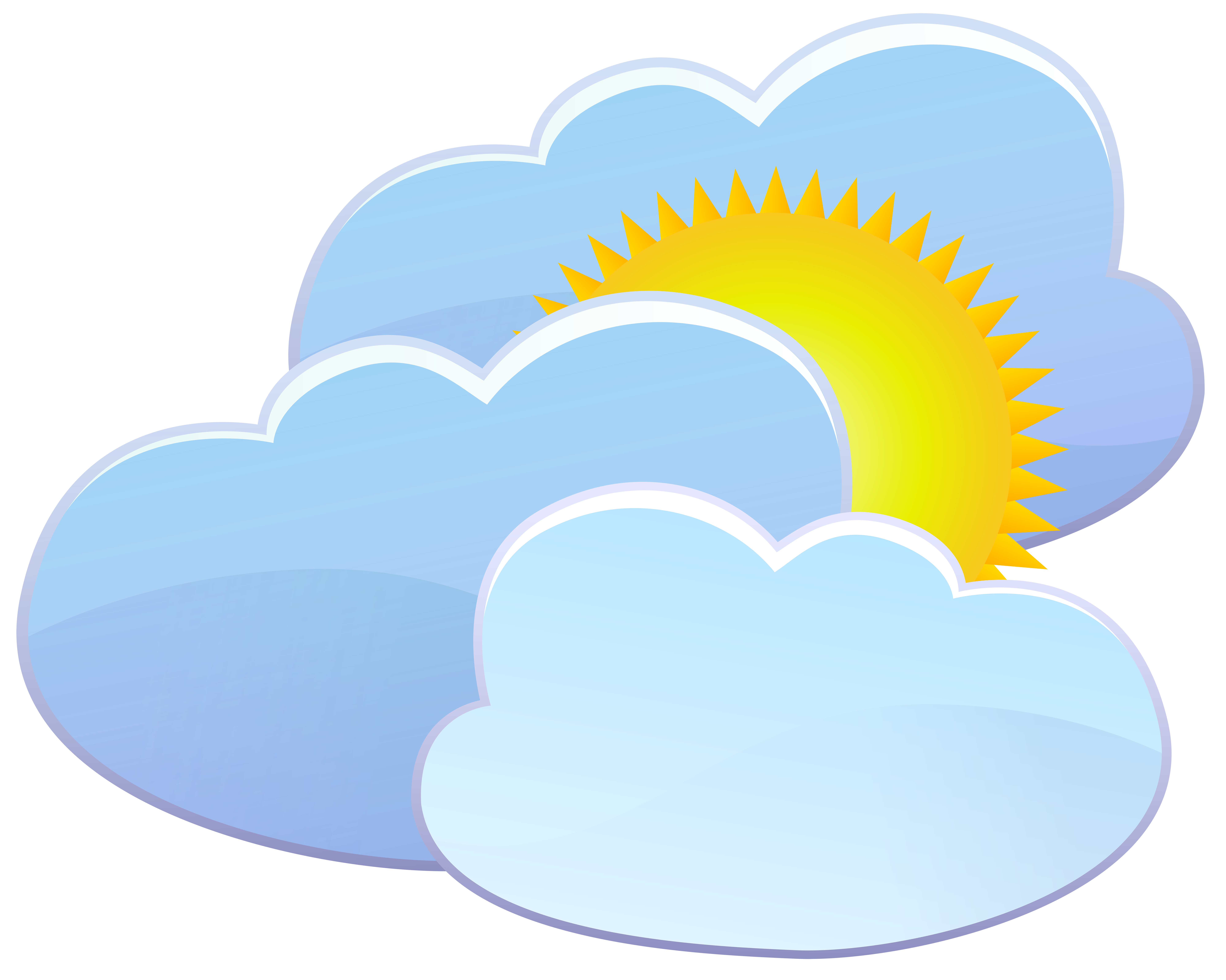 Clipart of sun over house image library library Three Clouds and Sun Weather Icon PNG Clip Art - Best WEB Clipart image library library
