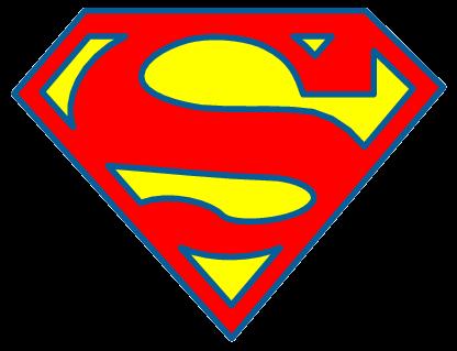 Cute silhoutte kid logos. Clipart of superman