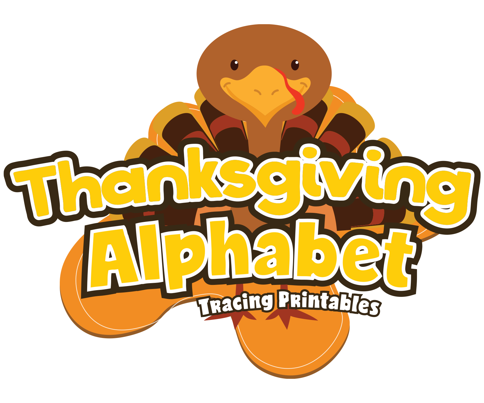 Thanksgiving Alphabet Letter Tracing Pack for Preschoolers — My ... graphic black and white stock