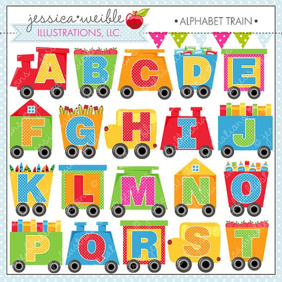 Clipart of the alphabet svg free stock Alphabet Train Cute Digital Clipart for Commercial or Personal Use ... svg free stock