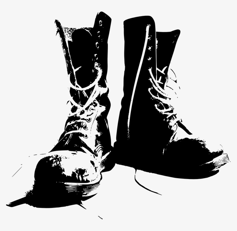 Clipart of the bottom of a boot jpg black and white stock Illustration Of A Pair Of Gray Boots On A White Background - Combat ... jpg black and white stock