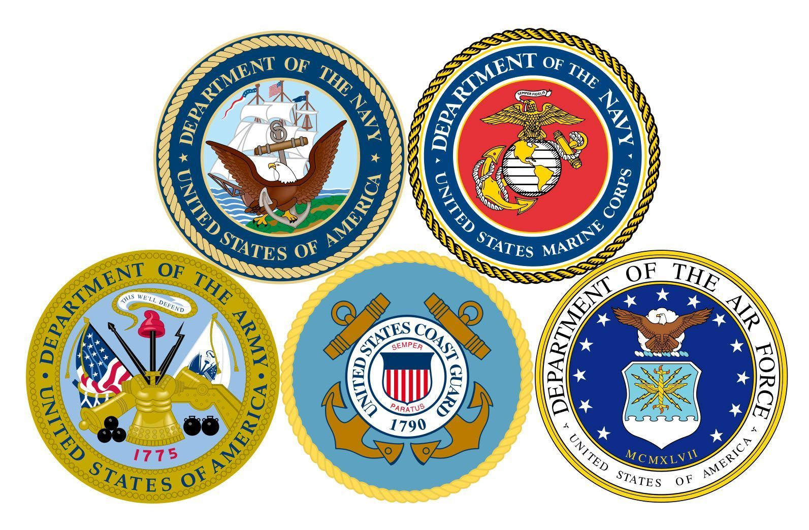 Clipart of the five branches of armed forces uniforms vector black and white library U.S. Armed Forces Branches | Forever.. | Military branches, Armed ... vector black and white library