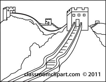 Clipart of the great wall of china graphic library library Great Wall of China Clip Art Black and White | Sub plans in 2019 ... graphic library library