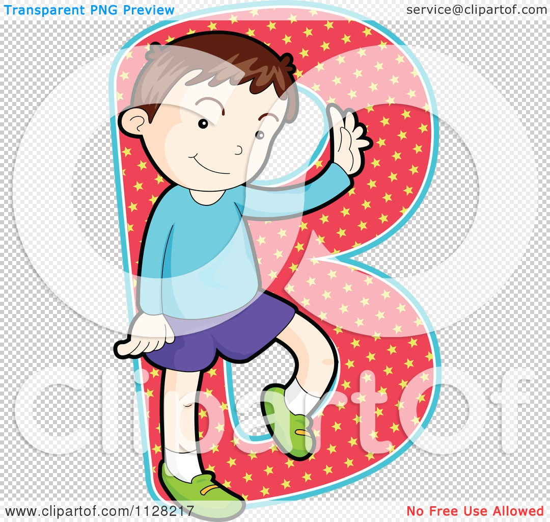 Clipart of the letter b jpg black and white stock Cartoon Of A Boy Posing Over The Letter B - Royalty Free Vector ... jpg black and white stock