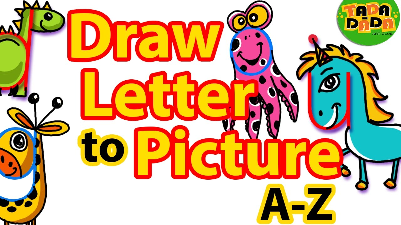 Clipart things that start with the letter z graphic royalty free download How to draw PICTURES from LETTERS A-Z | STEP BY STEP | Kids Drawing |  TADA-DADA Art Club graphic royalty free download