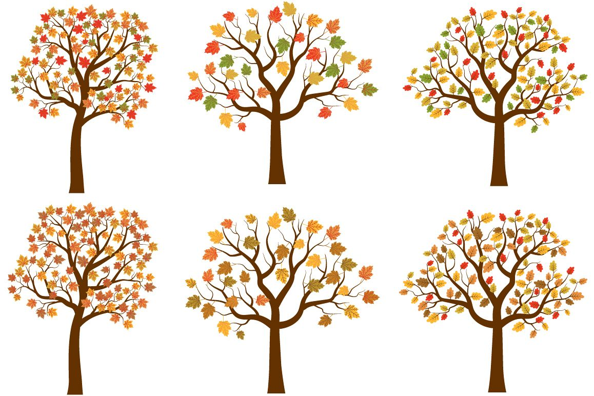 Clipart of trees in the fall clipart freeuse Autumn trees clipart set, Cute fall tree red yellow leaves clipart freeuse