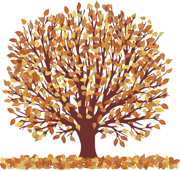 Tree with roots fruit and leaves and falling leaves clipart clipart transparent Autumn Tree with Falling Leaves Transparent Picture | Trees | Tree ... clipart transparent