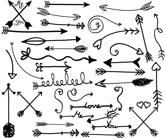Clipart of tribal arrow black and white graphic freeuse stock Tribal Arrow Clipart: ARROW CLIP ART Hand Drawn graphic freeuse stock