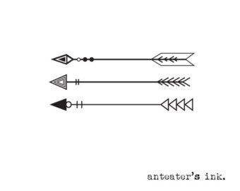 Clipart of tribal arrow black and white banner library download Doodle Tribal Aztec Arrow Divider Hand Drawn Clipart Vector EPS ... banner library download