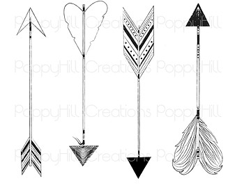 Clipart of tribal arrow black and white transparent Hand Drawn Arrow Clipart - Clipart Kid transparent