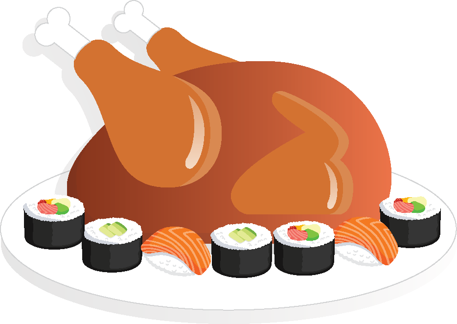 Turkey, Tofu and Sushi by Joan Leotta | Features | Sasee Magazine clipart transparent stock