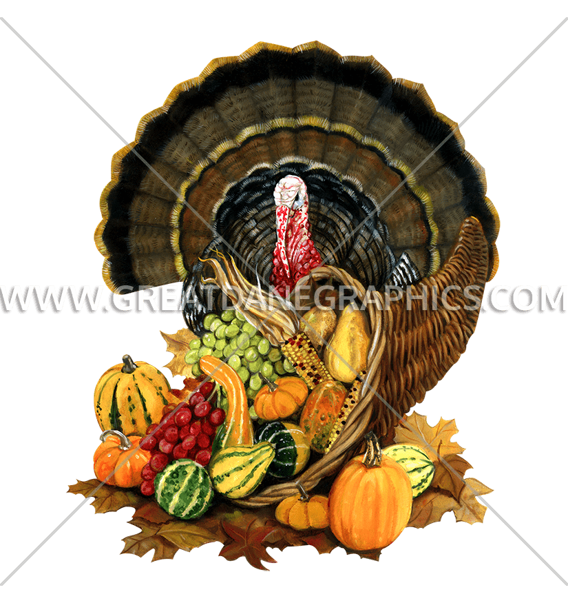 Turkey & Cornucopia | Production Ready Artwork for T-Shirt Printing jpg transparent stock