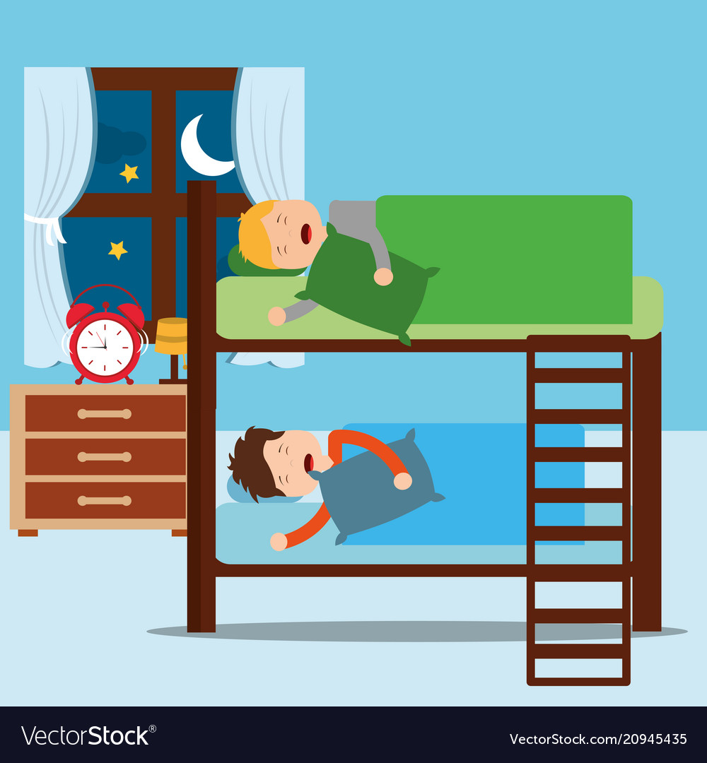 Clipart of two boys in a bunk bed clip art library library Boys asleep in bunk bed in night bedroom clip art library library