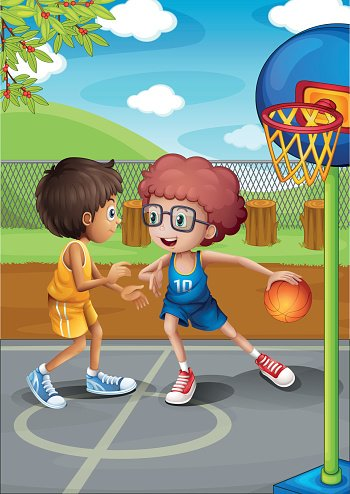 Clipart of two boys playing ball clipart download Two Boys Playing Basketball AT The Court premium clipart ... clipart download