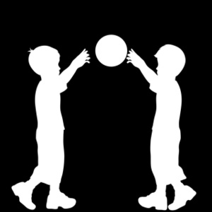 Clipart of two boys playing ball clip art black and white stock Two children playing ball | Weather Clipart clip art black and white stock