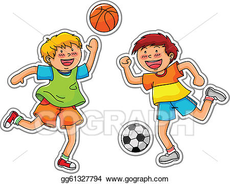 Clipart of two boys playing ball free library Vector Stock - Ball games. Stock Clip Art gg61327794 - GoGraph free library