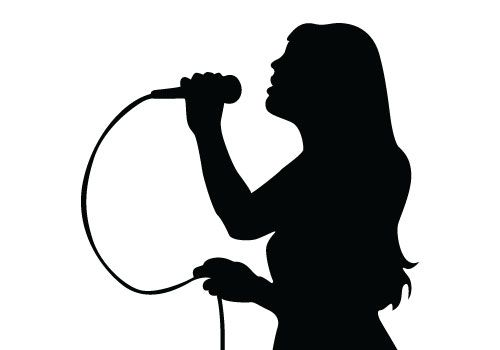 Clipart of two ladies singing with microphones clip free Free vector download of Singing Silhouette Vector, a beautiful young ... clip free