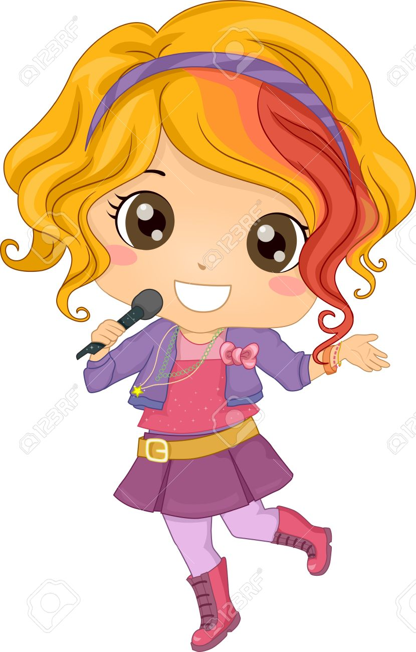 Clipart of two ladies singing with microphones clip freeuse download Girl Singing Into Microphone Clipart (76 ) - Free Clipart clip freeuse download