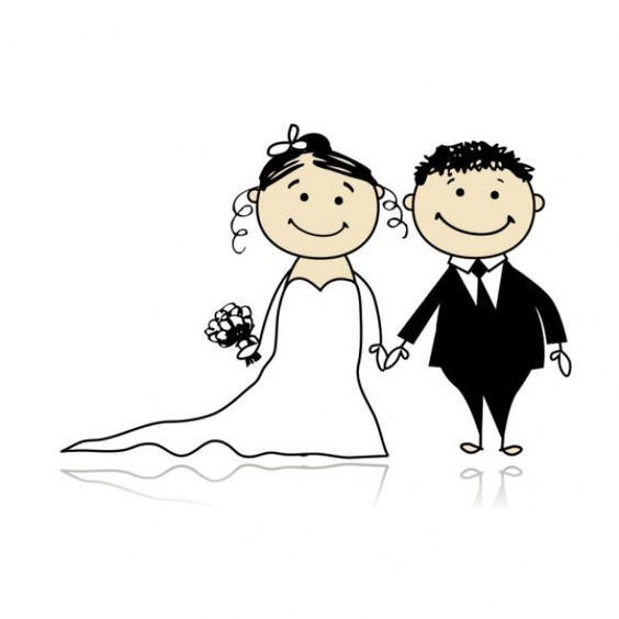 Clipart of two people wedding png black and white library Clipart of two people wedding - ClipartFest png black and white library